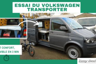 L'essai du lit dans le fourgon utilitaire VW Transporter